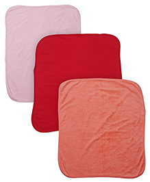 Ohms Baby Towel Plain Pack Of 3 - Red Pink Orange