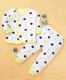 Gigilily Polka Dot Print Tee & Pant Set - White & Lemon Yellow