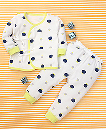Gigilily Polka Dot Print Tee & Pant Set - White & Lemon Yellow