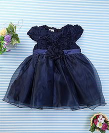 Amigo 7 Seven Flower Applique Net Dress - Navy Blue
