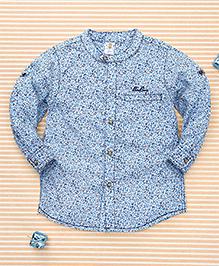 Bee Born Leaf Print Shirt - White & Sky Blue