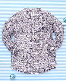 Bee Born Leaf Print Shirt - Blue & Brown