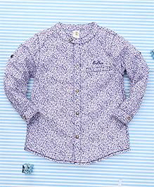 Bee Born Leaf Print Shirt - White & Purple