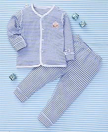 Gigilily Stripes Print Shirt & Pant Set - Blue & White