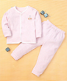 Gigilily Stripes Print Shirt & Pant Set - Light Pink & White