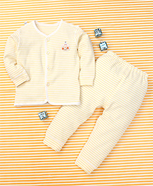 Gigilily Stripes Print Shirt & Pant Set - Light Yellow & White