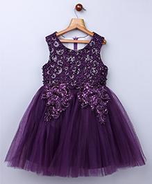 Whitehenz Clothing Glitter Short Sleeves Tutu Dress -Purple