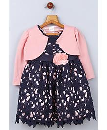 Whitehenz Clothing Cutwork Floral Belt Dress With Jacket - Peach & Navy Blue