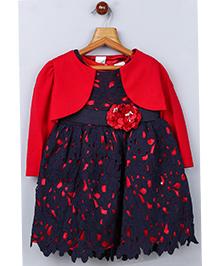 Whitehenz Clothing Cutwork Floral Belt Dress With Jacket - Red & Navy Blue