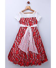 Whitehenz Clothing Lovely Angel Rosette Gown With Attractive Belt- White & Red