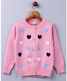 Whitehenz Clothing Heart Sweater With Pearl Buttons - Pink