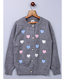 Whitehenz Clothing Heart Sweater With Pearl Buttons - Grey