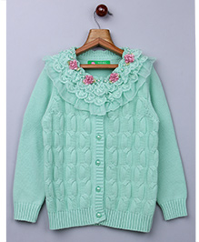 Whitehenz Clothing Elegant Net Floral Sweater - Aqua Green