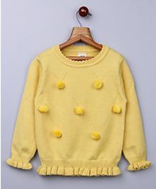 Whitehenz Clothing Pom Pom Fullsleeves Sweater - Yellow
