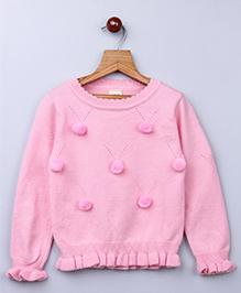 Whitehenz Clothing Pom Pom Fullsleeves Sweater - Pink