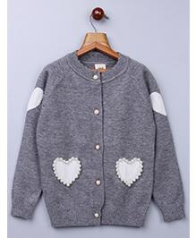 Whitehenz Clothing Pearl Heart Design Fullsleeves Sweater - Grey