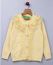 Whitehenz Clothing Lace Applique Sweater With Floral Buttons- Yellow