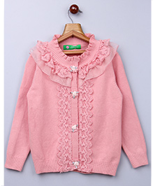 Whitehenz Clothing Lace Applique Sweater With Floral Buttons- Pink