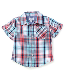Pumpkin Patch Half Sleeves Check Shirt - Blue Red