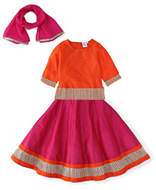 Kiddopanti Lehenga Choli And Dupatta Set Lace Details - Orange And Pink