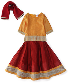 Kiddopanti Lehenga Choli And Dupatta Set Lace Details - Yellow And Maroon