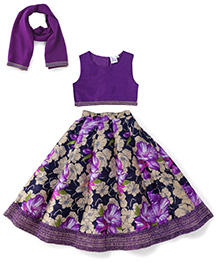 Kiddopanti Lehenga Choli And Dupatta Set Floral Print - Purple
