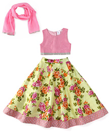 Kiddopanti Lehenga Choli And Dupatta Set Floral Print - Pink And Yellow