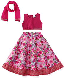 Kiddopanti Lehenga Choli And Dupatta Set Floral Print - Pink