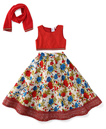 Kiddopanti Lehenga Choli And Dupatta Set Floral Print - Red