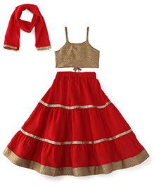 Kiddopanti Lehenga Choli And Dupatta Set With Lace Details - Red And Beige
