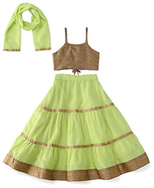 Kiddopanti Lehenga Choli And Dupatta Set With Lace Details - Green And Beige