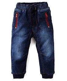 Kiddopanti Full Length Jeans With Zip Pockets - Dark Blue