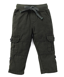 Kiddopanti Pull Up Cargo Pant With Ribbed Waist - Military Green