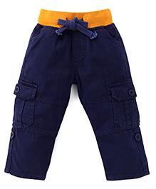 Kiddopanti Pull Up Cargo Pant With Ribbed Waist - Navy Blue