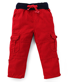 Kiddopanti Pull Up Cargo Pant With Ribbed Waist - Dark Red