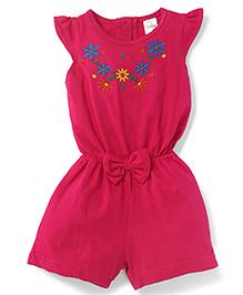 Babyhug Flutter Sleeves Jumpsuit With Floral Design And Applique - Pink