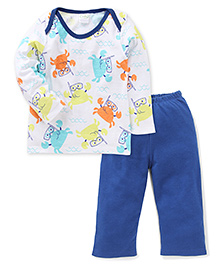 Babyhug Full Sleeves Night Suit Animal Print - White And Royal Blue