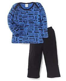 Babyhug Full Sleeves Night Suit Vehicle Print - Blue And Black