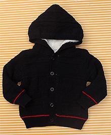 Bee Born Baby Sweater With Hood - Black