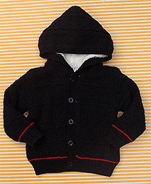 Bee Born Baby Sweater With Hood - Black