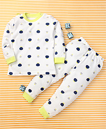 Gigilily Dot Print Tee & Pant Set - White & Green