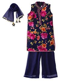 Ami Sleeveless Kurti And Palazzo With Dupatta Floral Print - Navy Blue