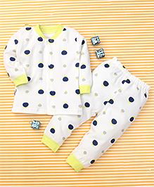Gigilily Polka Dot Print Tee & Pant Set - White Green & Navy Blue