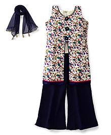 Ami Sleeveless Kurti And Palazzo With Dupatta Floral Motifs -  Navy Blue Cream
