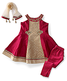 Ami Sleeveless Kurti And Churidaar With Dupatta - Dark Pink