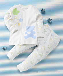 Gigilily Bear Print Tee & Pant Set - Blue & White