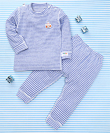 Gigilily Full Sleeves Tee & Pant Set - Blue