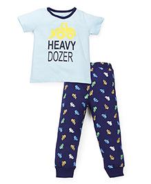 Babyhug Half Sleeves Night Suit Heavy Dozer Print - Aqua & Navy