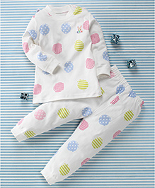 Gigilily Rabbit Print Tee & Pant Set - White & Multicolour