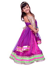 Kilkari Kali Ghagra With Brocade Choli & Matching Dupatta - Purple